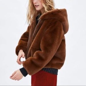 NEW Zara Faux Fur Hooded Jacket